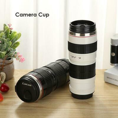 400mL Camera Lens Stainless Steel Cup Thermos Coffee Tea Mug Cup Gift with Bag