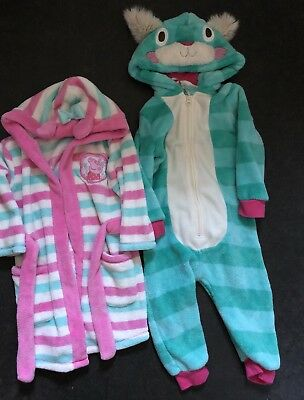 Baby Girls 18-24 Month All In One Dressing Gown Peppa Pig Bunny Nightwear Fluffy