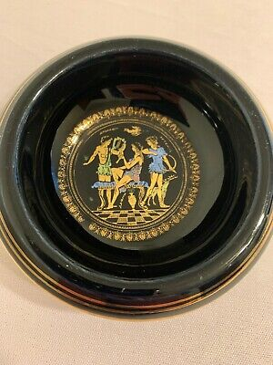 Handmade Greek dish painted in 24k gold paint