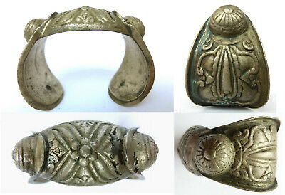 Lovely Post Byzantine or Medieval Bronze Bracelet Ornate engraved and Marked #20