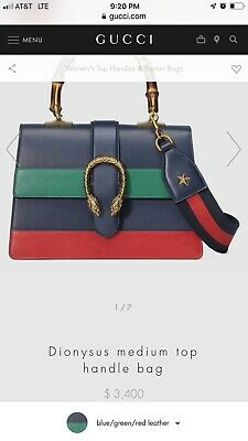 12865b754476 LARGE GUCCI DIONYSUS Leather Top Handle Shoulder Black Handbag Purse ...
