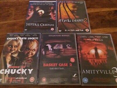 UK DVD Horror X5 Jeepers Creepers 1 & 2 Bride Chucky Basket Case 2 Amityville 3