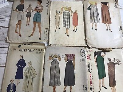 Vintage 1940s Lot of 6 Size 16.5/ 36 Patterns Simplicity Advance McCall Retro