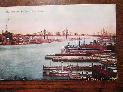 Old Postcard - Queensboro Bridge, New York,  Postmarked 1910 Excellent Condition
