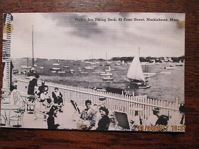 Old Postcard Harbor Inn Dining Deck 43 Front Street, Marblehead, Mass. Very Good