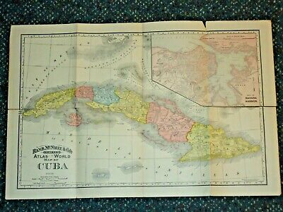"1892 Cuba Map by Rand McNally 21""x14"" with Crease Tears - NR"