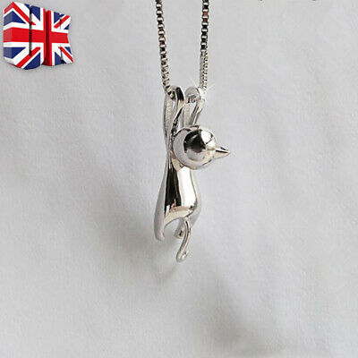Cat Pendant Chain Necklace Stud Earrings 925 Sterling Silver Womens Jewellery A