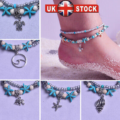 Boho Ankle Bracelet 2 Layer Anklet Adjustable Turquoise Chain Foot Beach Jewelry