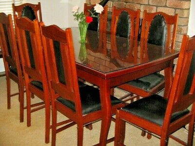 Federation Dining Room Suite Glass Top To Sturdy Solid Wood Table 8 Chairs PERTH