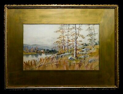 C. Russell (American) Late 19Th C Signed 1895 W/C Landscape Orig Gilt Mat/Frame