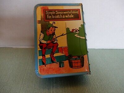 Kirchhof  Vintage Tin Litho Book Shaped Bank Nursery Rhyme Simple Simon Vol. II