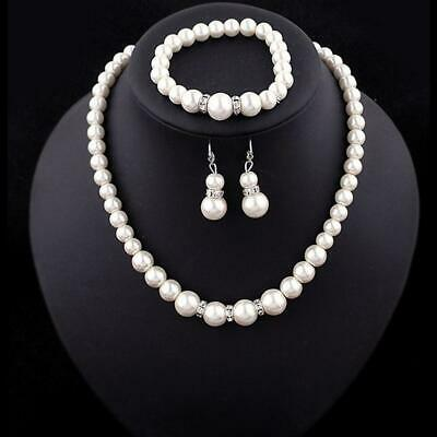 efafbbf34c37c LUXURY BRIDAL QUEEN Floral White Pearls Necklace Earrings Bracelet ...