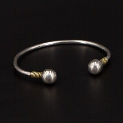 """VTG Sterling Silver & Brass Accent - MEXICO Ball Tip 7"""" Cuff Bracelet - 14.5g"""