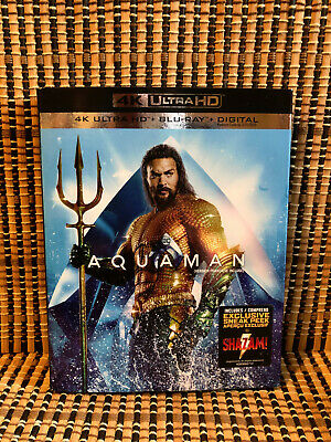 Aquaman 4K (1-Disc Blu-ray, 2019)+Slipcover.DC/Justice League.Jason Mamoa.Heard