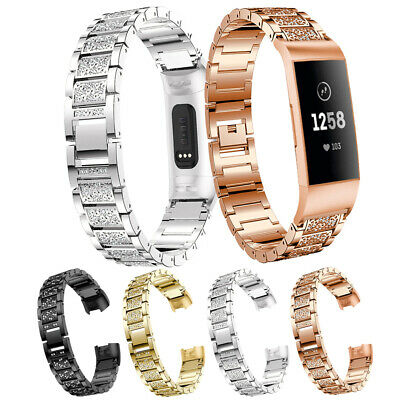 For Fitbit Charge 3 Smart Watch Crystal Stainless Steel Watch Band Wrist Strap