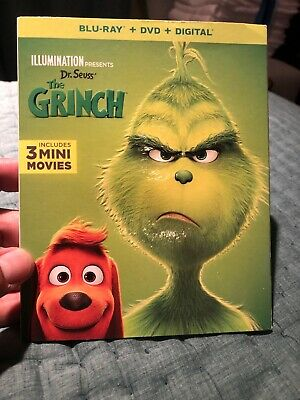 The Grinch (Blu-Ray + DVD + NO Digital) (2019) with slip cover