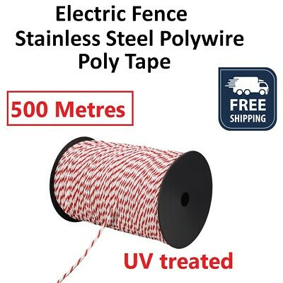 500m 4mm Electric Fence Stainless Steel Rope Polywire Poly Tape Farming Fencing