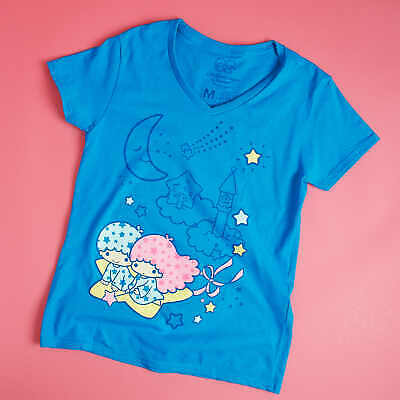 LITTLE TWIN STARS Women's V-Neck T-Shirt Sanrio Loot Wear Crate Hello Kitty NEW