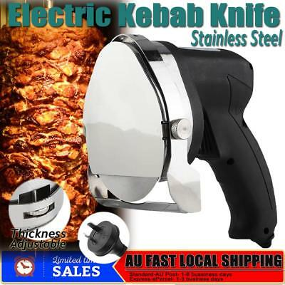 Electric Shawarma Cutter Slicer Knife Gyro Doner Kebab Stainless Steel AU Plug