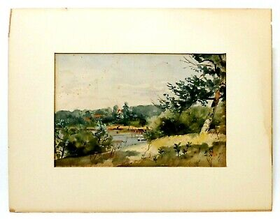 Late 19Th-Early 20Th C American Vint Unsigned W/C Landscape, Matting/Inscription