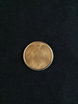 Vintage Metal Angel Coin Medal Gold Double Sided