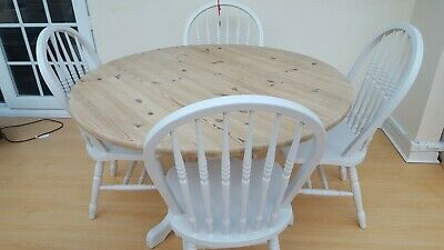 Solid round table and four kitchen chairs in Farrow and Ball Skimming Stone.