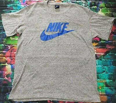 42308f47de9 Vintage 80's Nike Grey Big Swoosh T-Shirt Blue Tag XL Made In USA RARE