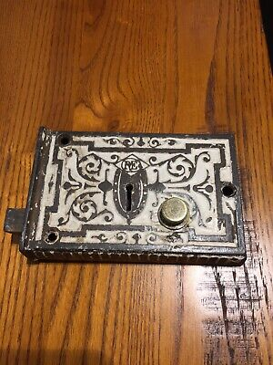 Antique OLD 1878 Rim Lock / Box Lock Ornate Victorian
