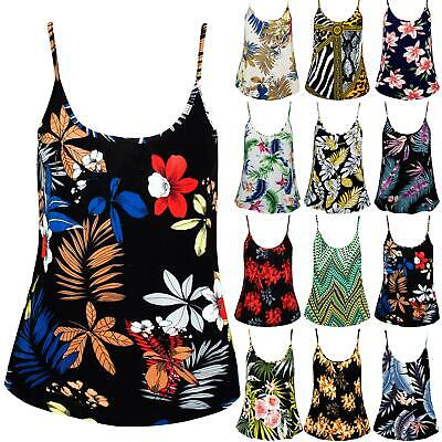 Womens Ladies Floral Printed Camisole Casual Flared Thin Strappy Swing Vest Top
