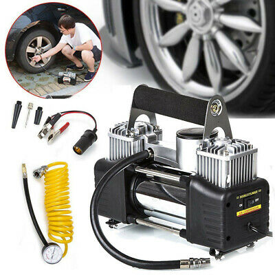 Double Cylinder 12v Car Air Compressor 150PSI Tyre Inflator Pump Heavy Duty