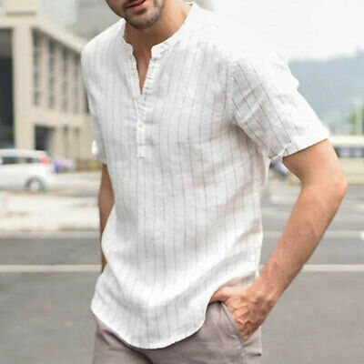 b68b62338 Men's Linen Short Sleeve Shirt Summer Cool Loose Casual V-Neck Shirts Tops  M-
