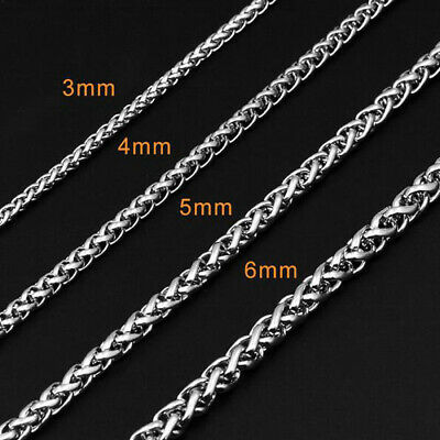 3-6MM Men Womens 316L Stainless Steel Silver Twist Curb Link Chain Necklace Gift