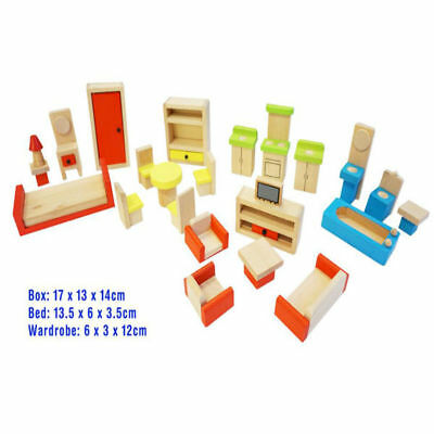 Wooden DOLL HOUSE FURNITURE 5 Room Settings FUN FACTORY 26 pieces Free Shipping