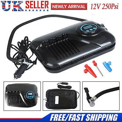 12V 250PSI Digital Air Compressor Pump Van Car Tyre Football Inflator Portable W