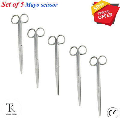 5 Professional MEDICAL MAYO SCISSORS Surgical Instruments Cutting Surface Tissue