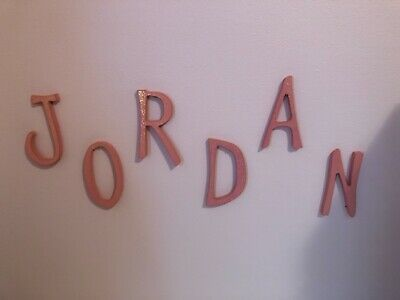 "Wooden Letters ""Jordan"" for girls room - Sparkly & Pink - hang on wall"