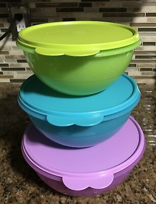Tupperware 3 Piece Wonderlier Bowls  – Salsa Verde/Purple Daisy/Tropical Water ~