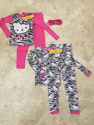 edfc49bb0 NEW Hello Kitty Girls Cotton Pajama Set - 2 Pairs with Sleep Mask Pink Size  10