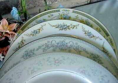 Vintage Mismatched China Dinner Plates Lot of 4 Blues Silver Bands Floral