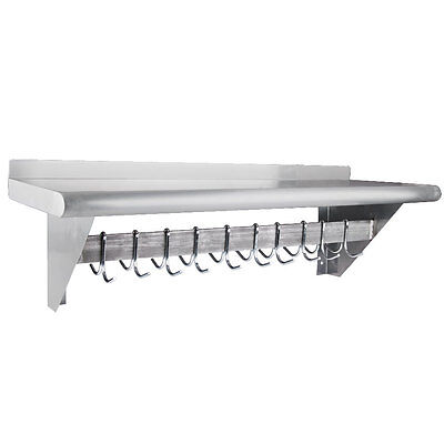 """12"""" x 36"""" Stainless Steel Wall Mounted Pot Rack with Shelf and 18 Hooks"""