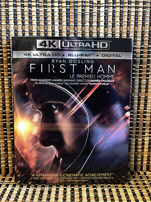 First Man 4K (1-Disc Blu-ray, 2019)+Slipcover.Neil Armstrong/Apollo 11/Moon