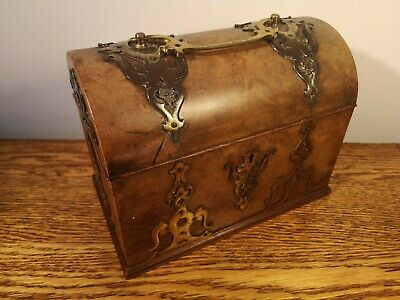 PRETTY VICTORIAN DOME TOPPED WALNUT STATIONERY BOX + GOTHIC BRASS MOUNTS c.1880