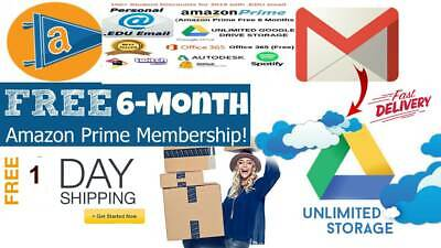 new USA Edu Email 6Months Amazon Prime / Unlimited Google Drive Student + More
