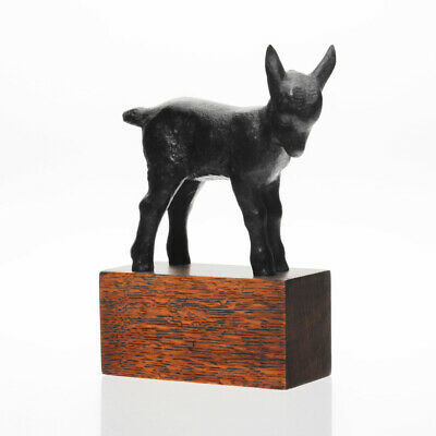 Jakob Fehrle - Patinated Cast Iron & Oak Goat / Kid Sculpture - 1930s Art Deco