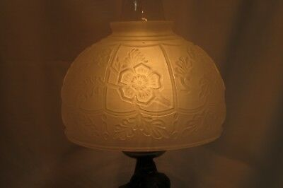 """Beautiful White Frosted Embossed Floral Design Oil Lamp Shade 8"""" Dia"""