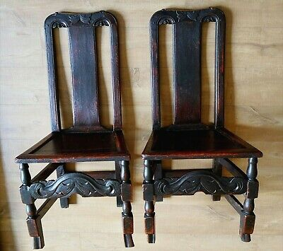 2 x Late 17th Century William & Mary Splat Back Carved Oak Chairs  Original Cond