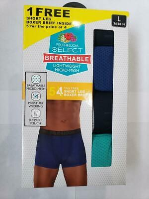 Fruit of the Loom Breathable 5 Pack Lightweight Micro-Mesh Boxer Brief Short Leg
