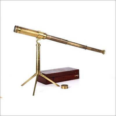 Antique Mantel Sypglass or Telescope. With Case. 19th Century