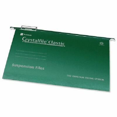 Rexel Crystalfile Classic Foolscap Suspension File 15mm Green (50) 78046