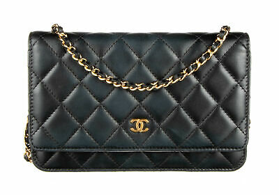 5803d3ab05 CHANEL BLACK LAMBSKIN Leather Wallet On Chain Bag - $1,500.00 | PicClick